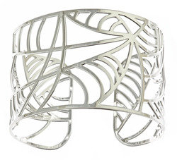 Kris Nations Silver Deco Leaf Cuff