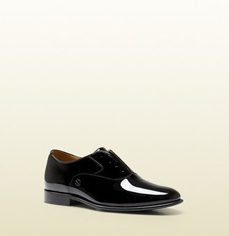 Gucci Kid's Black Patent Leather Lace-Up Shoe