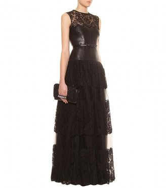 Valentino LEATHER AND LACE FLOOR-LENGTH GOWN