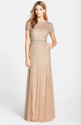 Women's Adrianna Papell Beaded Mesh Gown $318 thestylecure.com