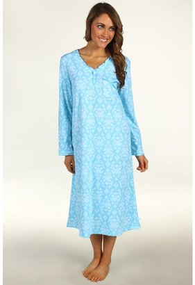 Karen Neuburger Petite Charmed L/S Pullover Nightgown (Brocade Aqua) - Apparel