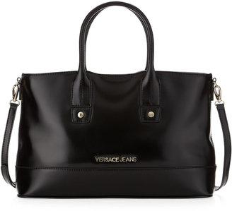 Versace PVC Large Patent Tote Bag, Black