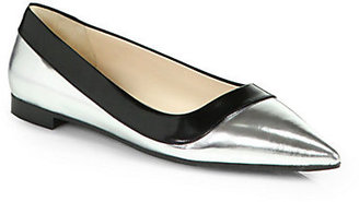 Prada Metallic Leather Point-Toe Ballet Flats