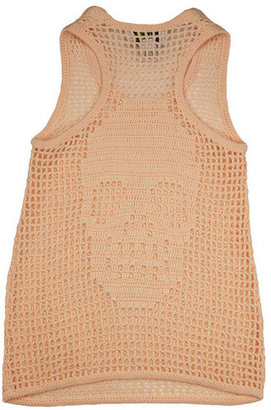 Autumn Cashmere Peach Crochet Tank Top With Skull Back Detail