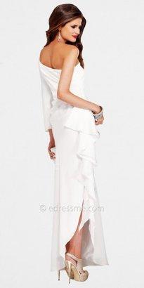 Faviana Glamour Ivory One Shoulder Long Sleeve Evening Dresses