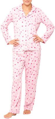 Eileen West Pink Hearts Fleece Pajama Set