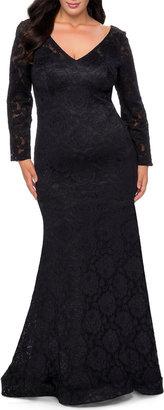 La Femme Plus Size V-Neck Long-Sleeve Sheer Back Lace Gown