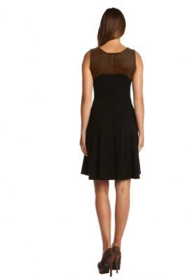 Karen Kane Fit and Flare Dress with Faux Suede Accents