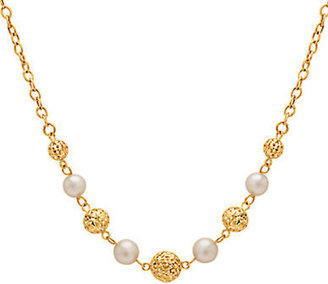 Lord & Taylor 14 Kt. Yellow Gold & Pearl Station Necklace