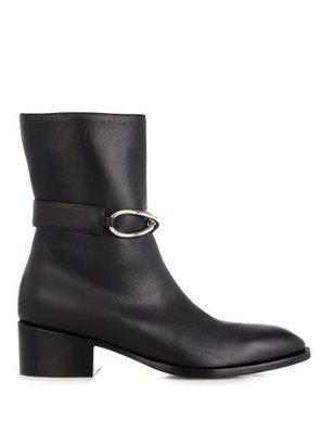 Balenciaga Block heel leather ankle boots