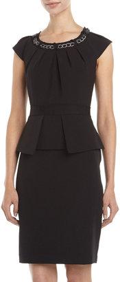Chetta B Chain-Neck Peplum Dress, Black