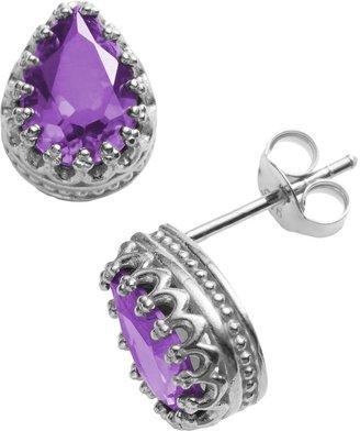 Tiara Sterling Silver Amethyst Crown Stud Earrings