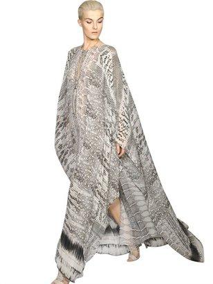Roberto Cavalli Python Printed Silk Georgette Caftan