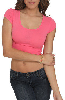 Wet Seal WetSeal Lace Back Crop Tee Carnation