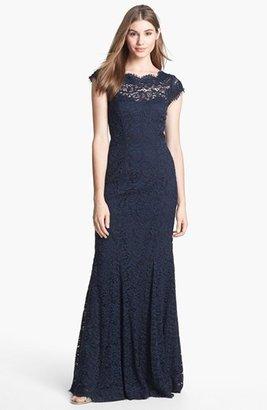 Monique Lhuillier Ribbon Trim Lace Gown