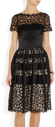 Temperley London Silk-blend satin and lace dress