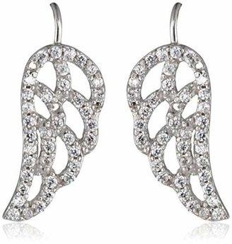 The Ear Pin Cubic Zirconia Angelic Wings Sterling Earrings
