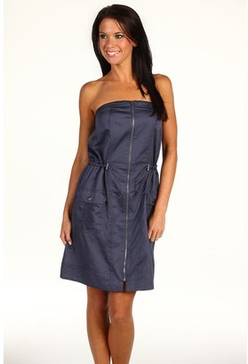DKNY Strapless Sateen Dress (Light Surf Navy) - Apparel