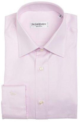 Saint Laurent pink microstriped cotton point collar dress shirt