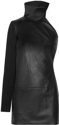 Estéban Paris Cortazar Cutout leather and cady mini dress