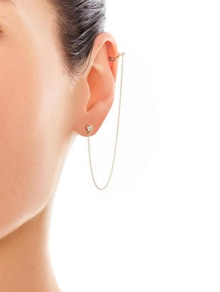 Aamaya by Priyanka Topaz & gold-plated chain single ear cuff