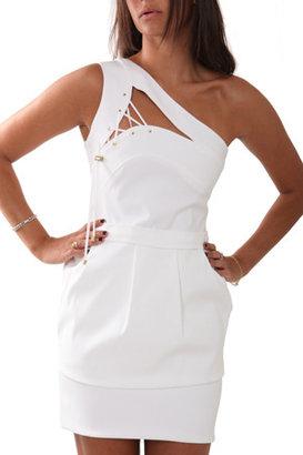 Preen Band Dress in White