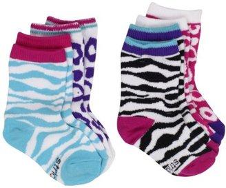 Stride Rite Girls 2-6X Four Pack Animal Frenzy Crew Socks