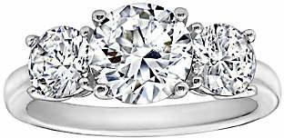 Diamonique 3.50 cttw 3 Stone Ring, Platinum Cl