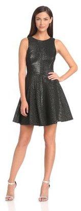 Nicole Miller Women's Geo Metallic Jacquard Fit-and-Flare Dress