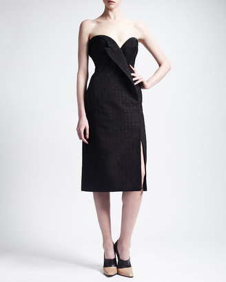 Stella McCartney Strapless Jacquard Lapel Cocktail Dress, Black