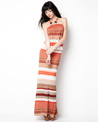 Young Fabulous & Broke Young Fabulous and Broke Sydney Striped Maxi Dress, Orange Cabana