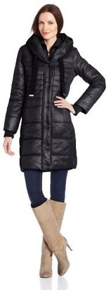 T Tahari Women's Paula 3/4 Hooded Packable with Gros Grain Pulls
