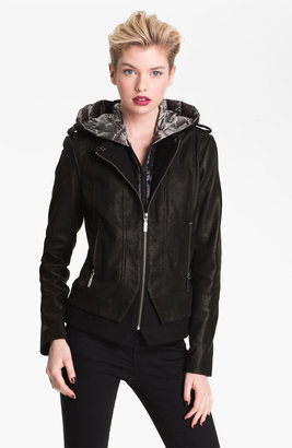 Bernardo Leather Jacket with Faux Vest Inset