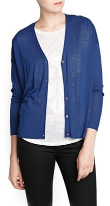 MANGO Outlet Ribbed Details Lightweight Cardigan