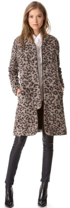 Thakoon Leopard Coat with Leather Trim