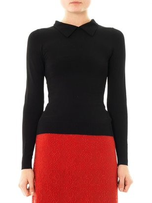Azzedine Alaia Point-collar fitted sweater