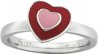 FINE JEWELRY Personally Stackable Red Enamel Heart Ring $83.32 thestylecure.com