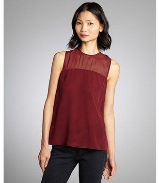 French Connection shiraz semi-sheer silk 'Mix It Up' sleeveless blouse