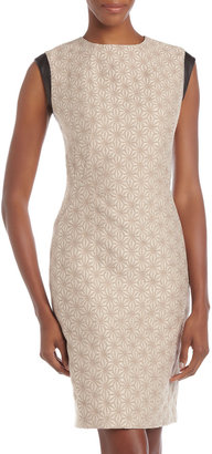 Lafayette 148 New York Leather-Trim Jacquard Dress
