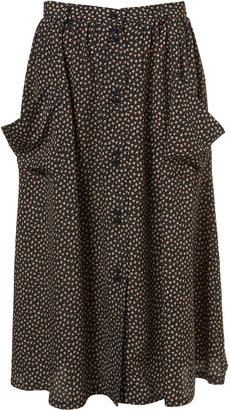 Topshop Navy Floral Midi Skirt