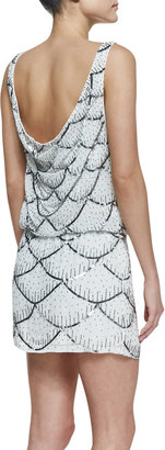 Nicole Miller Sleeveless Scalloped Sequin Cocktail Dress, Ivory/Multicolor