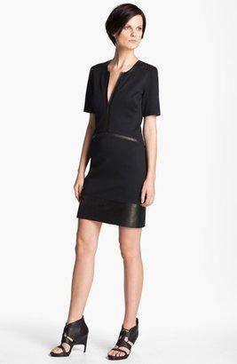 Helmut Lang 'Motion' Leather Trim Dress