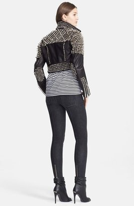 Burberry 'Blickling' Studded Calfskin Leather Moto Jacket