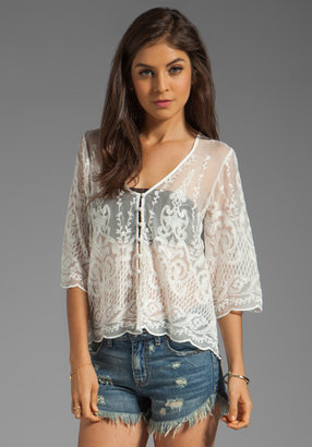 Dolce Vita Jinger Silk Embroidery Long Sleeve Button Down Blouse