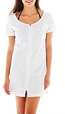 JCPenney Wearabouts Zip-Front Anchor Cover-Up Dress