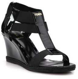 Fendi Carioca Patent Leather T-Strap Wedge Sandals