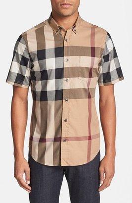 Men's Burberry Brit 'Fred' Trim Fit Short Sleeve Sport Shirt $275 thestylecure.com