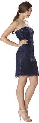 JS Boutique Metallic Lace Strapless Dress