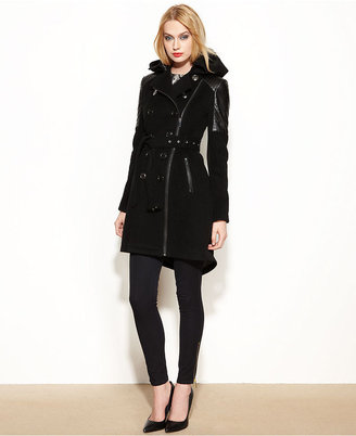BCBGeneration Coat, Double-Breasted Wool-Blend Hooded High-Low