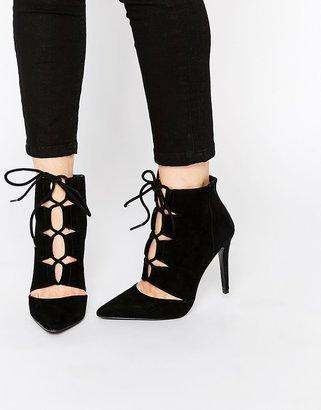 Aldo Eraede Black Suede Cut Out Shoe Boots